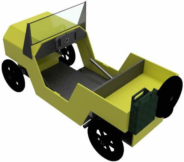 Jeep als Seifenkiste schraeg von oben