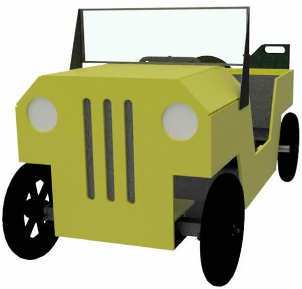 Jeep als Seifenkiste schraeg von vorne