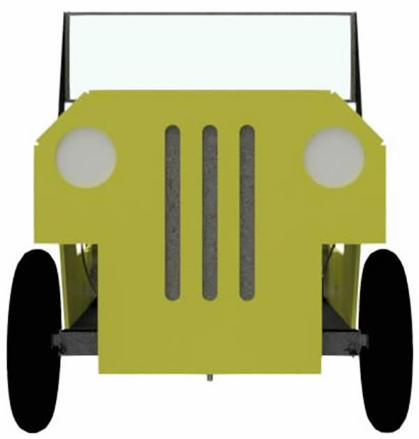 Jeep als Seifenkiste von vorne