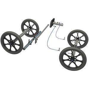 """Seifenkiste - Technik Bausatz Standard 16"""" Räder, 850 mm Achsen, Bremse, Lenkung"""