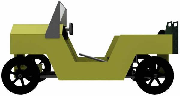 Jeep als Seifenkiste Seitenansicht
