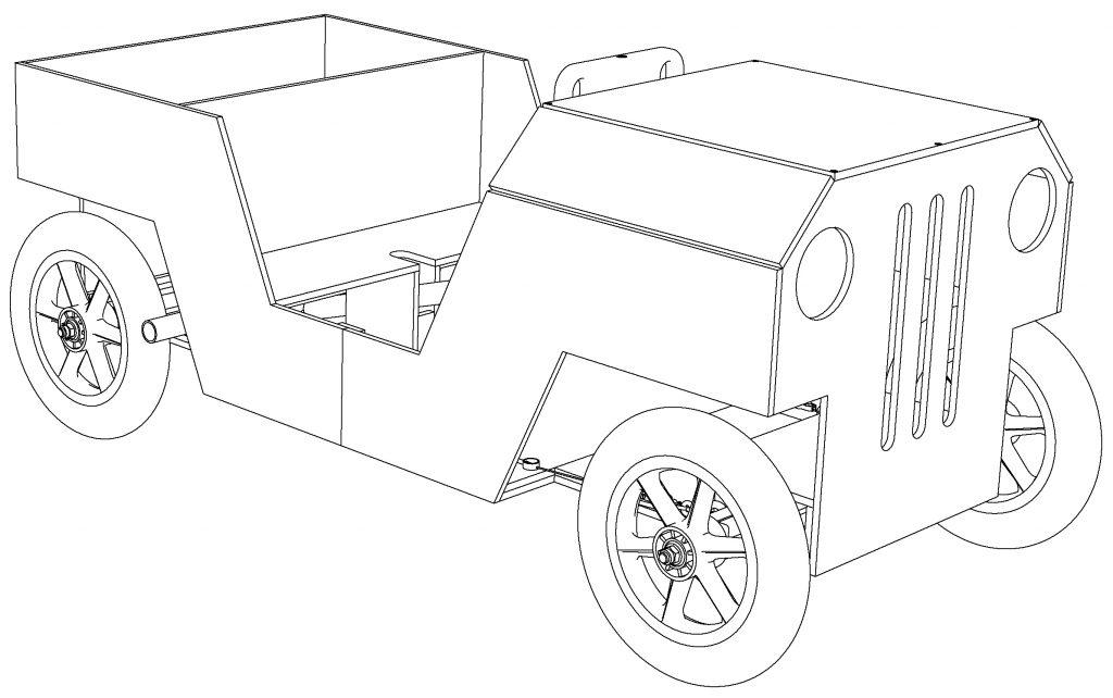 Jeep als Seifenkiste Strichzeichnung