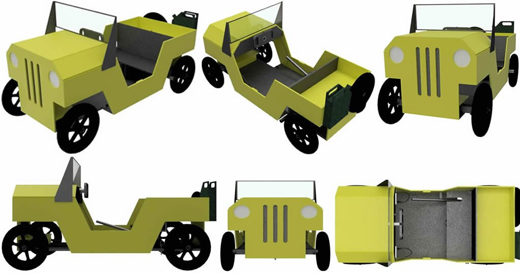 Jeep als Seifenkiste mehrere Ansichten