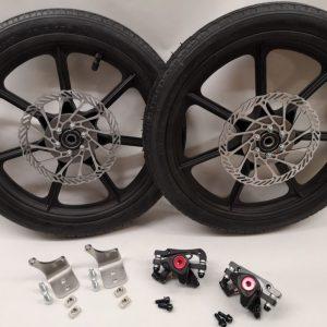 Seifenkiste - Set 2x16 Zoll Kunststoff Rad mit Bremsscheibe komplett
